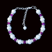 Load image into Gallery viewer, handmade pearl and swarovski crystal bracelet