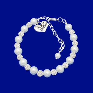 handmade grand mother pearl and crystal charm bracelet, white and silver or custom color