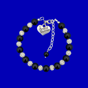 handmade grand mother pearl and crystal charm bracelet, black and silver or custom color