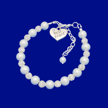 Load image into Gallery viewer, handmade best friend pearl and crystal charm bracelet
