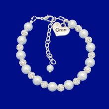 Load image into Gallery viewer, handmade gran pearl and crystal charm bracelet, white and silver or custom color