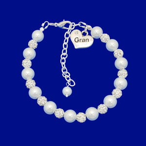 handmade gran pearl and crystal charm bracelet, white and silver or custom color