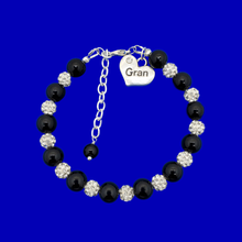 Load image into Gallery viewer, handmade gran pearl and crystal charm bracelet, black and silver or custom color