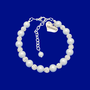 handmade mommy pearl crystal charm bracelet, white and silver or silver and custom color