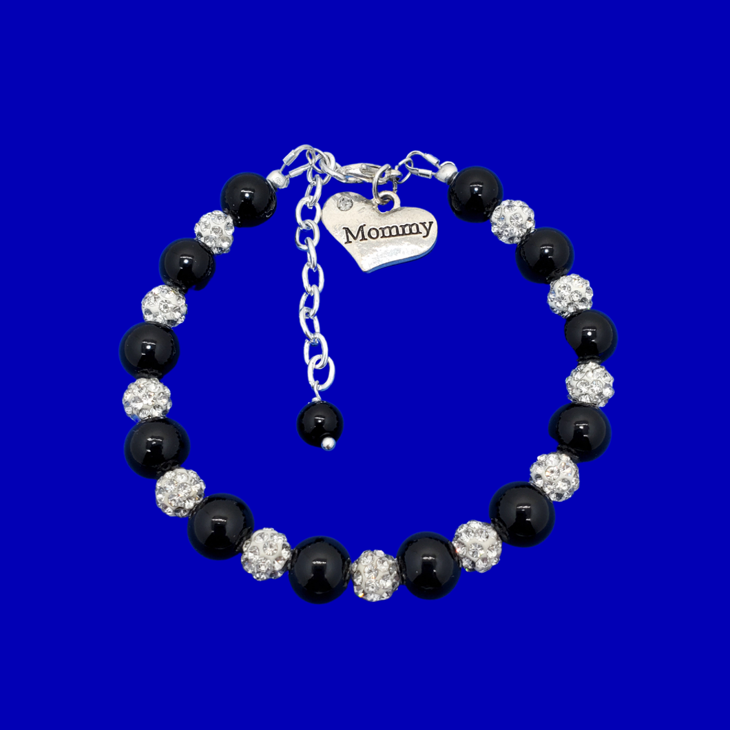 handmade mommy pearl crystal charm bracelet, black and silver or silver and custom color