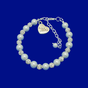handmade sister pearl and crystal charm bracelet, white and silver or silver and custom color