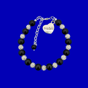 handmade sister pearl and crystal charm bracelet, black and silver or silver and custom color