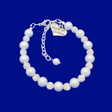 Load image into Gallery viewer, handmade sister of the groom pearl and crystal charm bracelet, white and silver or silver and custom color