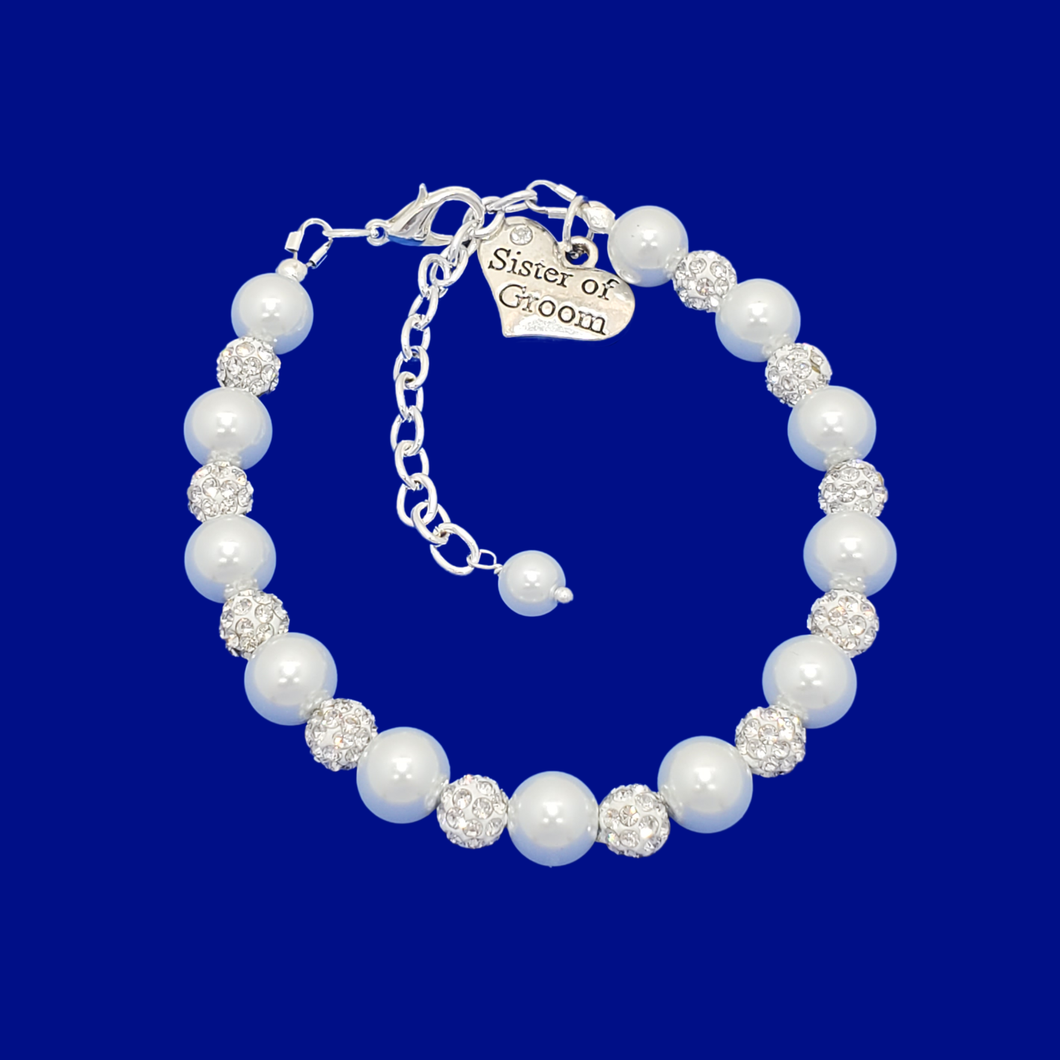 handmade sister of the groom pearl and crystal charm bracelet, white and silver or silver and custom color
