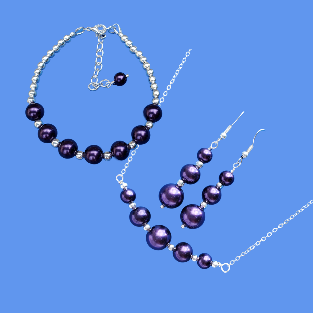 Pearl Jewelry Set - Pearl Set - Jewelry Set , handmade silver accented bar necklace accompanied by a bracelet and a pair of drop earrings, dark purple or custom color