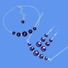 Load image into Gallery viewer, Jewelry Set - Necklace Set - Bridal Sets, handmade silver accented pearl bar necklace accompanied by a matching bracelet and a pair of drop earrings, dark purple or custom color