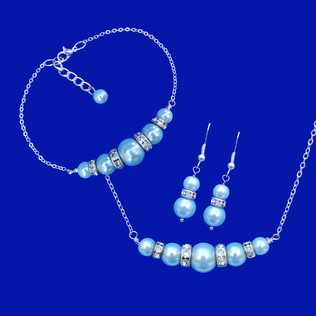 A handmade pearl and crystal bar necklace accompanied by a matching bracelet and a pair of drop earrings. light blue or custom color