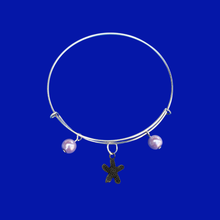 Load image into Gallery viewer, handmade starfish pearl expandable charm bracelet, lavender purple or custom color