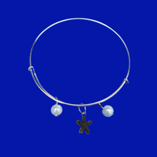 Load image into Gallery viewer, handmade starfish pearl expandable charm bracelet, white or custom color