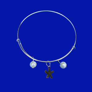 handmade starfish pearl expandable charm bracelet, white or custom color