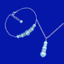 Load image into Gallery viewer, handmade pearl and crystal drop necklace accompanied by a bar bracelet, light blue or custom color