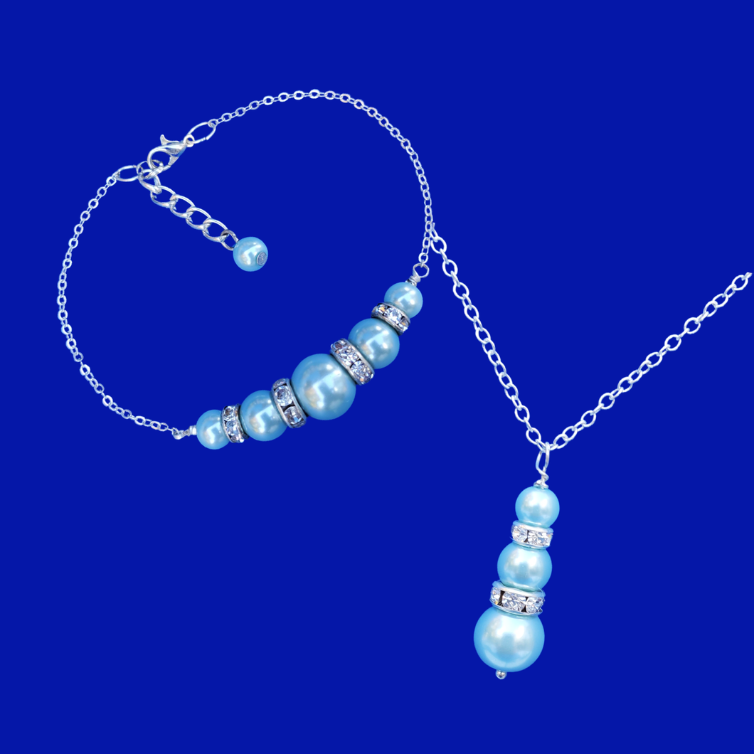 handmade pearl and crystal drop necklace accompanied by a bar bracelet, light blue or custom color