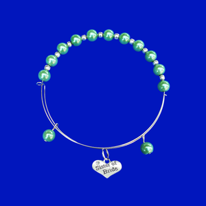sister of the bride expandable pearl charm bracelet, green or custom color