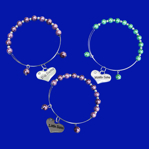 A set of 3 silver accented pearl charm bracelets, big sister middle sister little sister charm bracelets, custom color