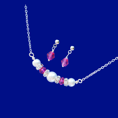 pearl and swarovski crystal bar necklace accompanied by a pair of crystal stud earring jewelry set, white and pink or custom color