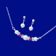 Load image into Gallery viewer, Pearl Set - Necklace And Earring Set - Stud Earrings Set, pearl and swarovski crystal bar necklace accompanied by a pair of pearl stud earring jewelry set, white and pink or custom color