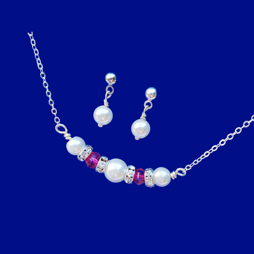 pearl and swarovski crystal bar necklace accompanied by a pair of pearl stud earring jewelry set, white and pink or custom color
