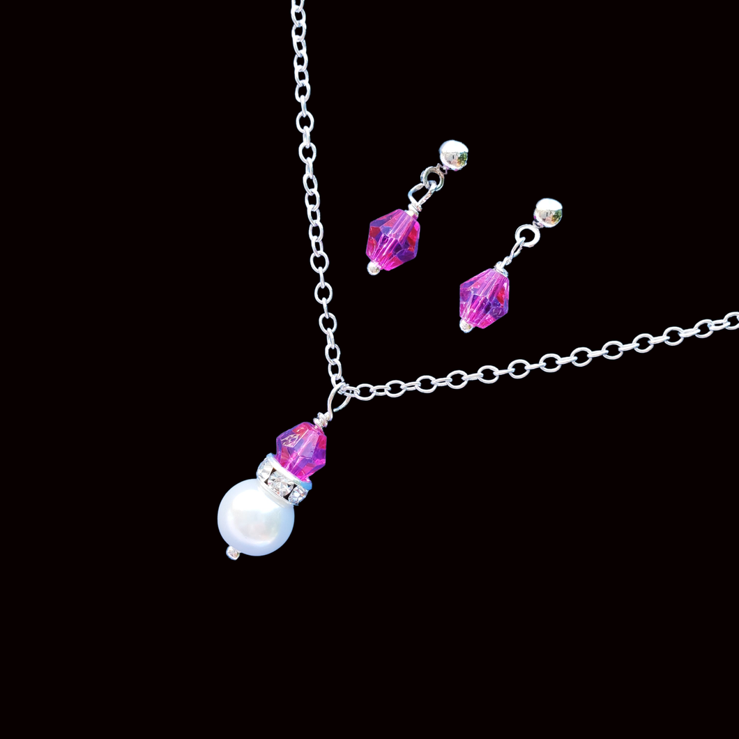 handmade pearl and crystal drop necklace accompanied by a pair of crystal stud earrings, pink and white or custom color