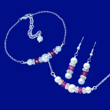 Load image into Gallery viewer, handmade pearl and swarovski crystal bar necklace accompanied by a matching bracelet and a pair of drop earrings