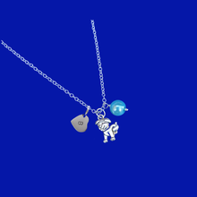 Load image into Gallery viewer, handmade pearl personalized dog or puppy charm drop necklace, aquamarine blue or custom color