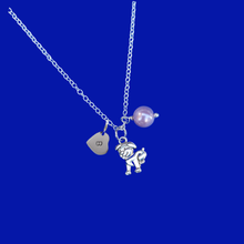 Load image into Gallery viewer, handmade pearl personalized dog or puppy charm drop necklace, lavender purple or custom color