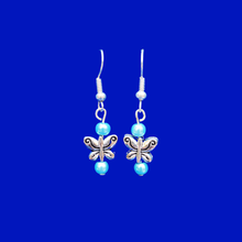 Load image into Gallery viewer, Butterfly Earrings - Pearl Earrings - Earrings, Handmade Butterfly Pearl Drop Earrings, aquamarine blue or custom color