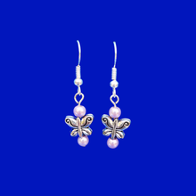 Load image into Gallery viewer, Butterfly Earrings - Pearl Earrings - Earrings, Handmade Butterfly Pearl Drop Earrings, lavender purple or custom color