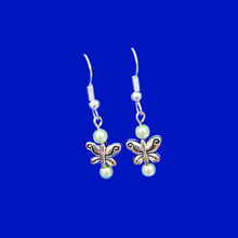 Load image into Gallery viewer, Butterfly Earrings - Pearl Earrings - Earrings, Handmade Butterfly Pearl Drop Earrings, white or custom color