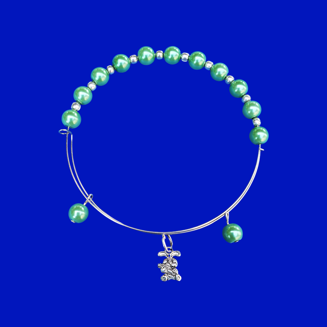 handmade bunny rabbit expandable pearl charm bracelet, green or custom color