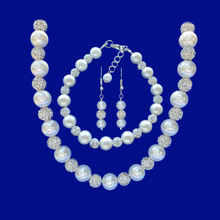 Load image into Gallery viewer, A handmade crystal and pearl necklace accompanied by a matching bracelet and drop earrings.