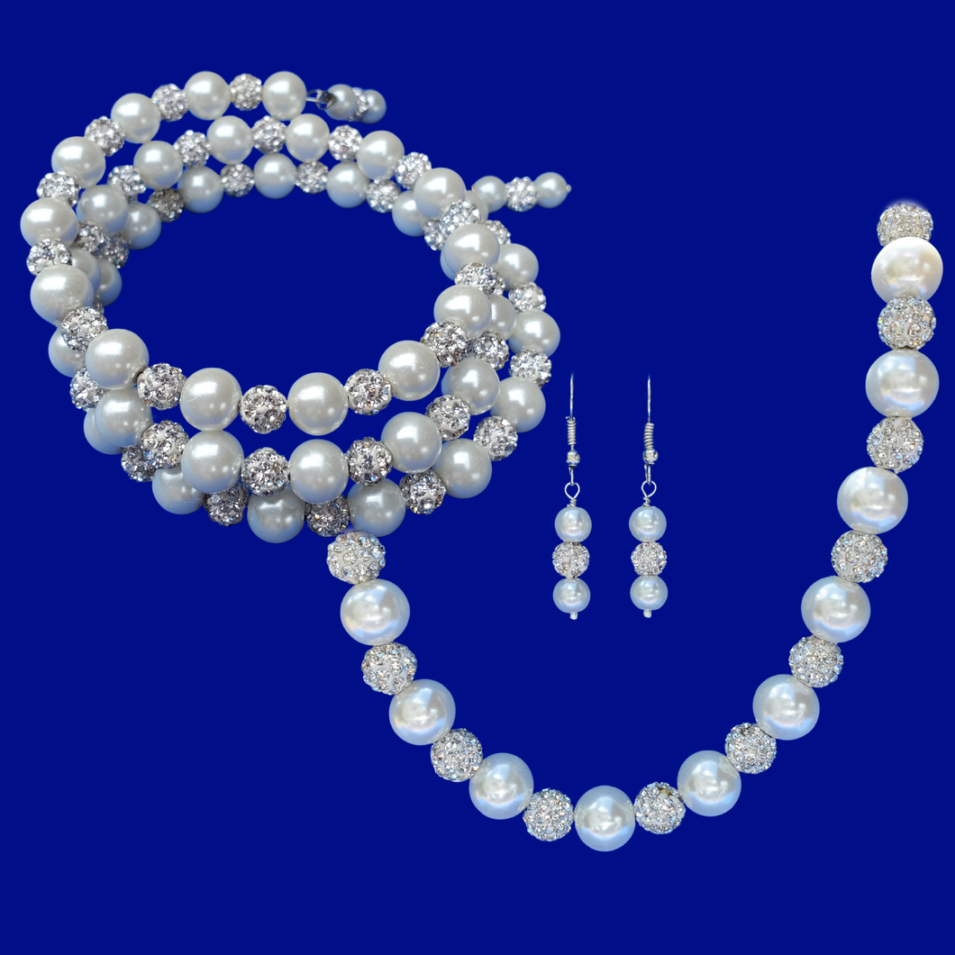 handmade pearl and crystal necklace accompanied by an expandable, multi-layer, wrap bracelet and a pair of drop earrings