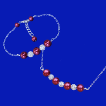 Load image into Gallery viewer, handmade pearl and crystal bar necklace accompanied by a matching bar bracelet