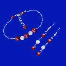 Load image into Gallery viewer, handmade pearl and crystal bar bracelet and drop earrings
