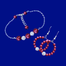 Load image into Gallery viewer, A handmade pearl and crystal bar bracelet accompanied by a pair of hoop earrings. silver and red or silver and custom color