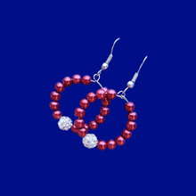 Load image into Gallery viewer, handmade pearl and crystal hoop earrings, bordeaux red or custom color