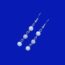 Load image into Gallery viewer, handmade pearl and crystal pair of drop earrings
