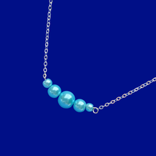 Load image into Gallery viewer, Pearl Necklace - Bar Necklace - Necklaces, handmade pearl bar bracelet, aquamarine blue or custom color