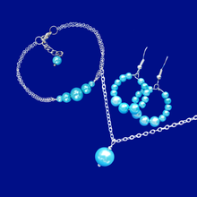 Load image into Gallery viewer, handmade drop necklace accompanied by a bar bracelet and a pair of hoop earrings