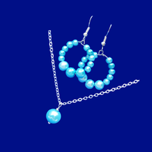 Load image into Gallery viewer, handmade drop necklace accompanied by a pair of hoop earrings