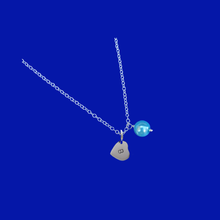 Load image into Gallery viewer, Personalized Initial Pearl Drop Necklace, aquamarine blue or custom color