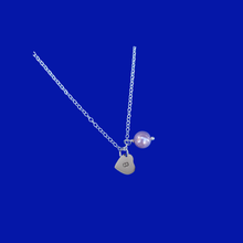 Load image into Gallery viewer, Personalized Initial Pearl Drop Necklace, lavender purple or custom color