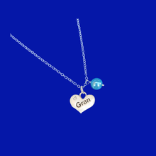 Load image into Gallery viewer, Gran handmade pearl drop charm necklace, aquamarine blue or custom color