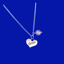Load image into Gallery viewer, Gran handmade pearl drop charm necklace, lavender purple or custom color