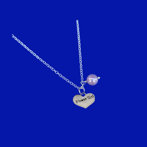 handmade flower girl pearl drop charm necklace, lavender purple or custom color