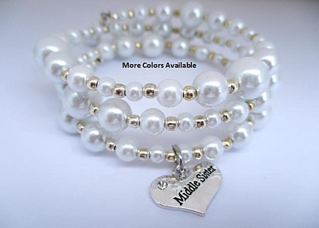 Middle Sister Pearl & Charm Expandable Multi-Layer Wrap Bracelet